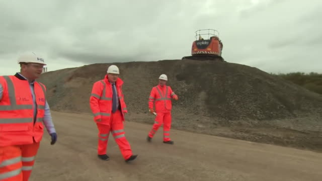 prime minister boris johnson visiting a hs2 construction site in solihull - visit stock videos & royalty-free footage