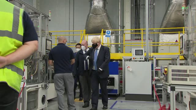 prime minister boris johnson visiting the nissan car plant in sunderland - greeting stock videos & royalty-free footage