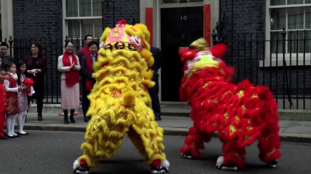 prime minister boris johnson welcomes members of the chinese community at 10 downing street london in celebration of the chinese new year shots of... - chinese culture stock videos & royalty-free footage