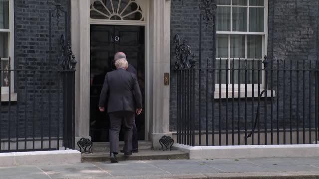 prime minister boris johnson welcoming australian prime minister scott morrison to 10 downing street - greeting stock videos & royalty-free footage