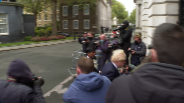 prime minister boris johson and chancellor of the exchequer rishi sunak leaving 10 downing street - getting out stock videos & royalty-free footage