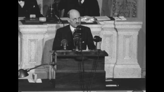 prime minister clement attlee addresses joint session of congress behind him are senate president pro tempore kenneth mckellar and speaker of the... - sam rayburn video stock e b–roll