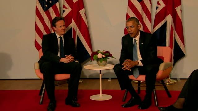 prime minister david cameron and us president barack obama at photocall during g7 summit barack obama stresses the importance of the two countries... - southern european stock videos & royalty-free footage