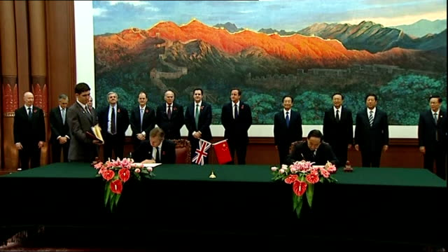 Prime Minister David Cameron joins British trade delegation visit meeting with Chinese Premier Wen Jiabao Cameron Osborne Cable and Gove standing in...