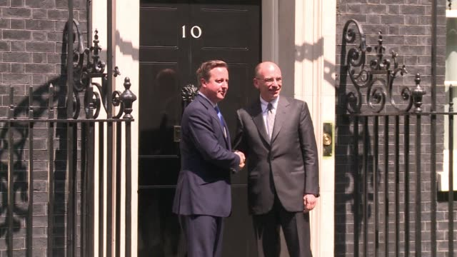 Prime Minister David Cameron meets Italian counterpart Enrico Letta at 10 Downing street London CLEAN Cameron meets Letta on July 17 2013 in London...