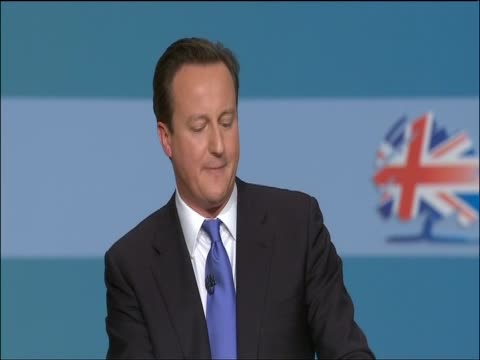 Prime Minister David Cameron speaks at the Conservative Party Conference stating your country needs you