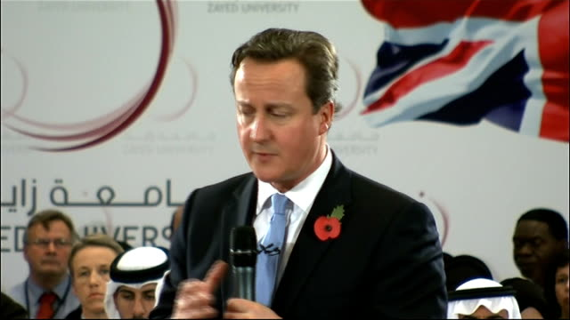 prime minister david cameron visits zayed university re uk economic problems our 2 countries need each other this year you have very successful... - double chance stock videos & royalty-free footage