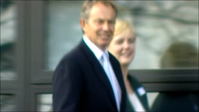 prime minister defends policies on health england west midlands birmingham ext tony blair mp along as waves pan int blair next hospital staff... - nurse waving stock videos & royalty-free footage