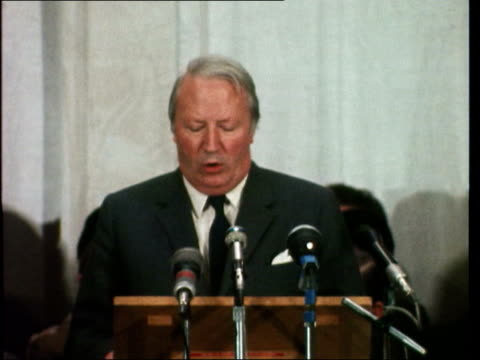 prime minister edward heath speech england southampton health sof 'we are of course conscious satisfactory agreement' - edward heath stock-videos und b-roll-filmmaterial