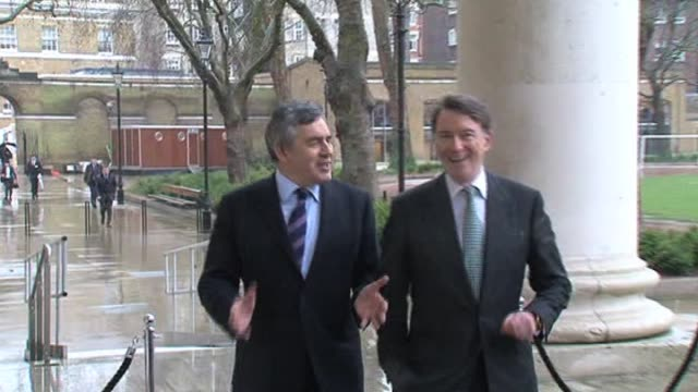 stockvideo's en b-roll-footage met prime minister gordon brown and peter mandelson on election campaign london 22 february - peter mandelson