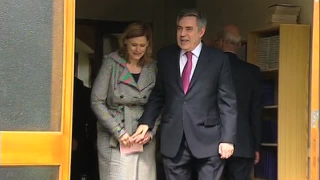 stockvideo's en b-roll-footage met prime minister gordon brown and wife sarah leave church on first weekend after the uk general election resulted in a hung parliament london uk 9 may... - number 9
