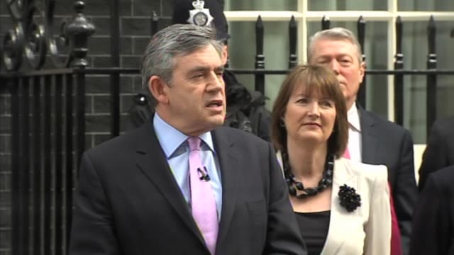 Prime Minister Gordon Brown comments on Britain's economic recovery outside No10 Downing Street following the call of a general election on May 6...