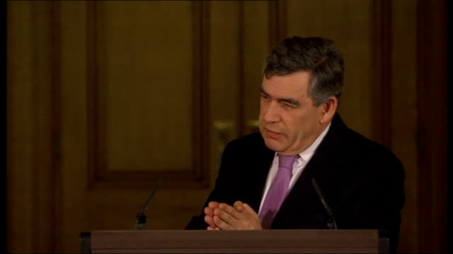 prime minister gordon brown gives monthly press conference; question sot - thank you prime minister. alf hitchcock, the police officer who has been... - youth organisation stock videos & royalty-free footage