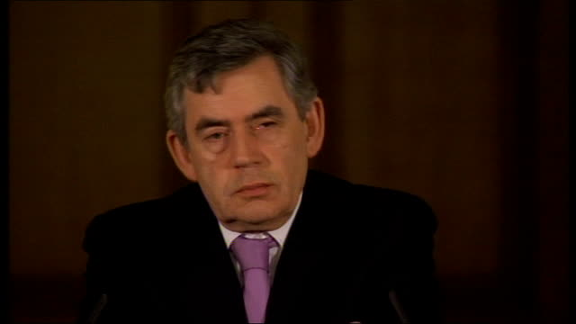 prime minister gordon brown gives monthly press conference question sot last week ministers lauded a deal between the government and the insurance... - paper industry stock videos & royalty-free footage