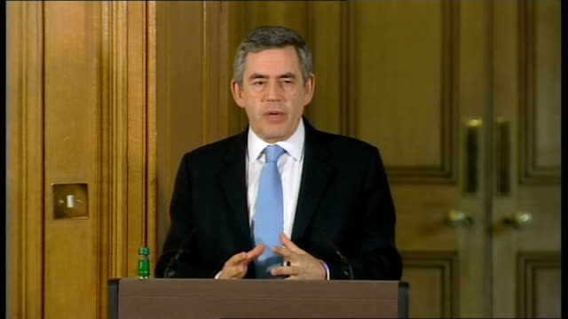 prime minister gordon brown holds monthly press conference; question - can you guarantee the taxpayer will get back with interest all the money lent... - 四旬節点の映像素材/bロール