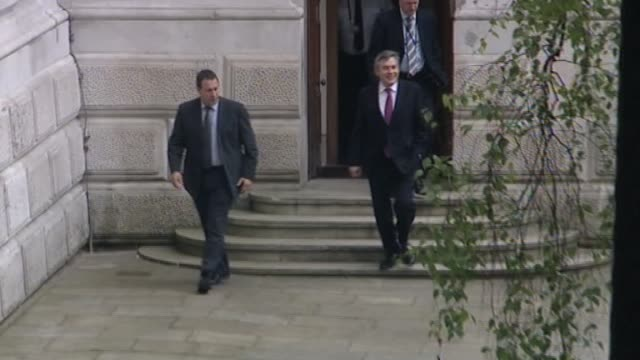 stockvideo's en b-roll-footage met prime minister gordon brown outside foreign office after holding talks with liberal democrats officials following the general election results london... - number 9