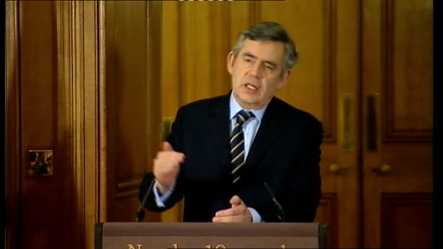 prime minister gordon brown press conference with eu council president herman van rompuy; gordon brown mp question and answers sot - the inflation... - 12 13 years stock videos & royalty-free footage