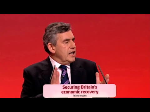 vídeos de stock e filmes b-roll de prime minister gordon brown proposes an abolishment of 'hereditary principle' in house of lords at labour party annual conference 27 september 2009 - conferência partidária