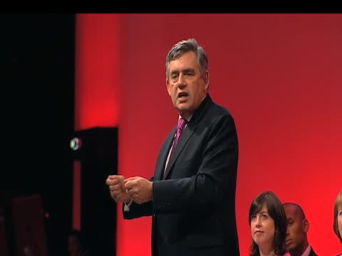 prime minister gordon brown tells delegates that labour party is 'fighting for future' annual conference brighton 27 september 2009 - labour party stock videos & royalty-free footage