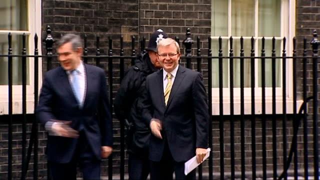 Prime Minister Gordon Brown welcomes Australian Prime Minister Kevin Rudd ENGLAND London Downing Street EXT Australian Prime Minister Kevin Rudd from...