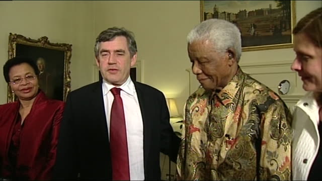 prime minister gordon brown welcoming nelson mandela to 10 downing street - colony stock videos & royalty-free footage