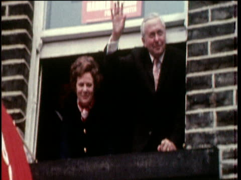 prime minister harold wilson and wife mary wave from window during election campaign colne; 31 may 70 - harold wilson stock-videos und b-roll-filmmaterial