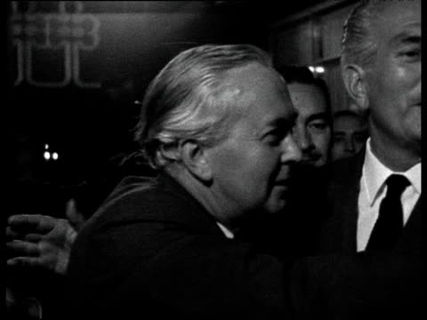 prime minister harold wilson shakes hands with football fans after england won the 1966 football world cup 31 jul 66 - harold wilson stock-videos und b-roll-filmmaterial