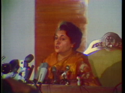 prime minister indira gandhi speaks at a press conference about the pakistani refugees and relations with the us in 1971. - (war or terrorism or election or government or illness or news event or speech or politics or politician or conflict or military or extreme weather or business or economy) and not usa stock videos & royalty-free footage