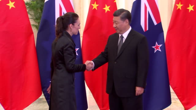 prime minister jacinda ardern meets with chinese president xi jinping during official diplomatic visit in north hall of great hall of the people... - prime minister stock videos & royalty-free footage