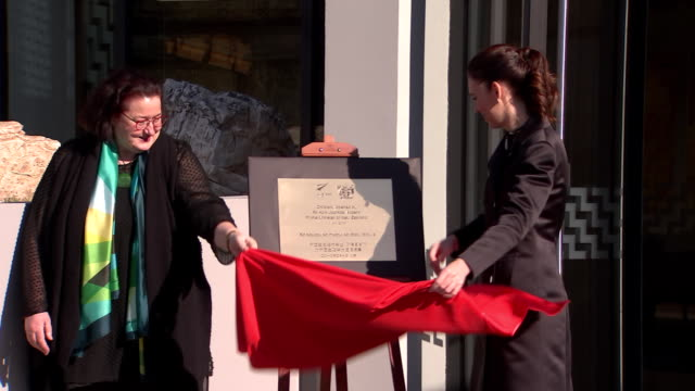 vídeos y material grabado en eventos de stock de prime minister jacinda ardern unveiling plaque during the official opening ceremony for the new zealand embassy building in beijing china - noreste de china