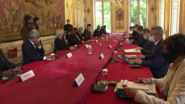 prime minister jean castex welcomes political leaders from the french overseas territory of new caledonia, starting with the delegation from... - french overseas territory stock videos & royalty-free footage