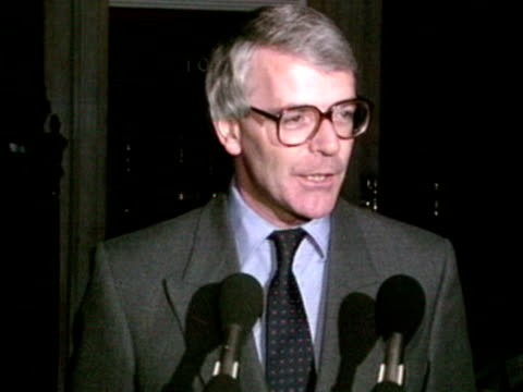 prime minister john major gives a statement outside ten downing street regarding the release of terry waite and denying that any deals were made with... - john major stock videos & royalty-free footage