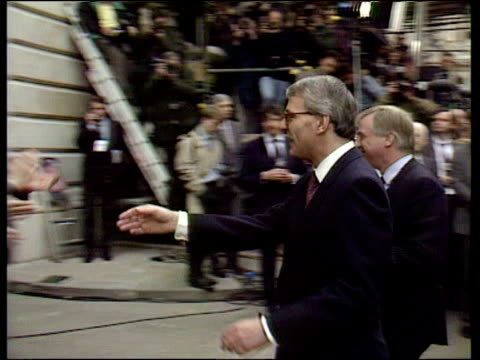 prime minister john major shakes hands with crowds celebrating win in 1992 general election 10 apr 92 - john major stock-videos und b-roll-filmmaterial