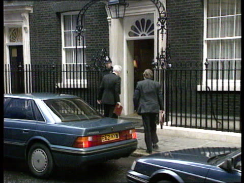 Prime Minister Major's first cabinet meeting PMQ's This morning as Cabinet members into No10 Downing St Michael Heseltine Environment Min walking...