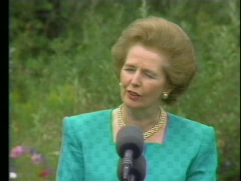 prime minister margaret thatcher, addresses the press regarding iraq's invasion of kuwait. - 1990 stock videos & royalty-free footage