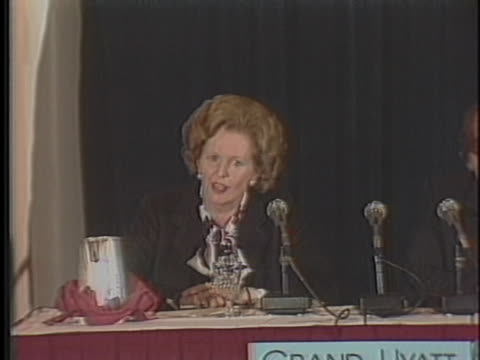prime minister margaret thatcher affirms allied support of the united states - united states and (politics or government) stock videos & royalty-free footage
