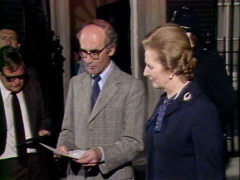 prime minister margaret thatcher and defence secretary john nott deliver statement describing successful landing of british troops on south georgia... - 1982 stock videos & royalty-free footage
