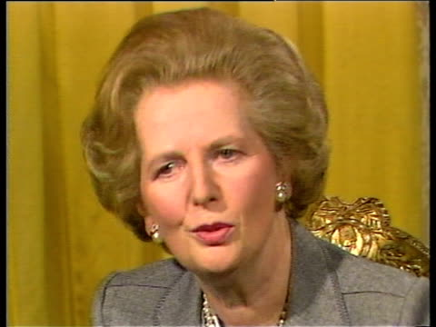 prime minister margaret thatcher comments on plans for third term as prime minister - margaret thatcher stock-videos und b-roll-filmmaterial