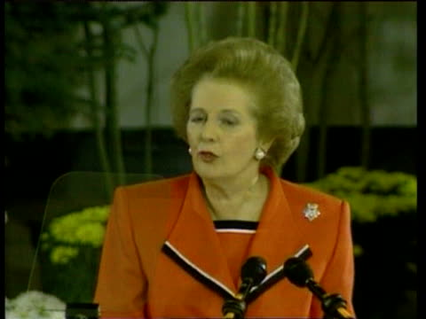 prime minister margaret thatcher gives speech urging united nations to impose sanctions on iraq to force its withdrawal from kuwait aspen; 5 aug 90 - anno 1990 video stock e b–roll