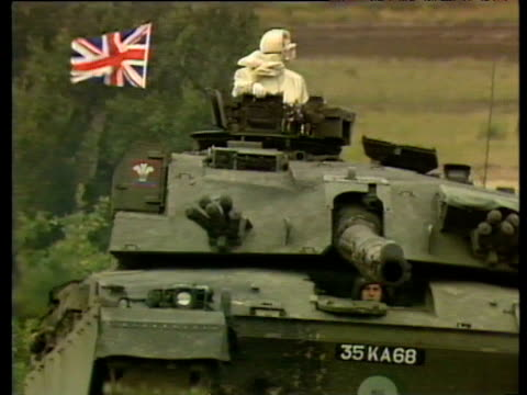 prime minister margaret thatcher riding in challenger tank during military manoeuvres at british army base fallingbostel 17 sep 86 - armoured vehicle stock videos & royalty-free footage