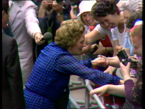 prime minister margaret thatcher shakes hands with crowd in downing street following second general election victory; 10 jun 83 - margaret thatcher stock videos & royalty-free footage