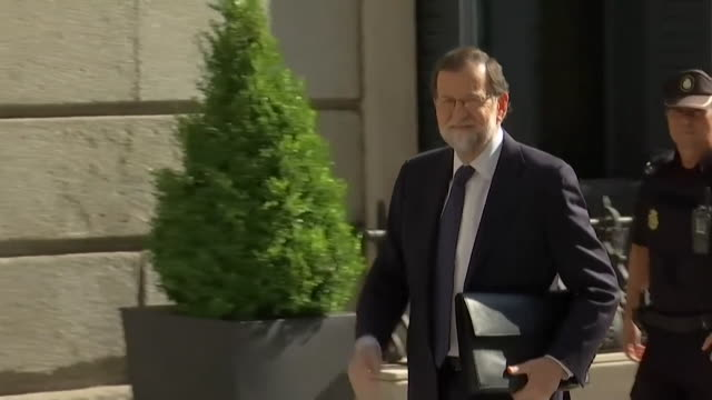 prime minister mariano rajoy outside the spanish parliament building - editorial stock videos & royalty-free footage