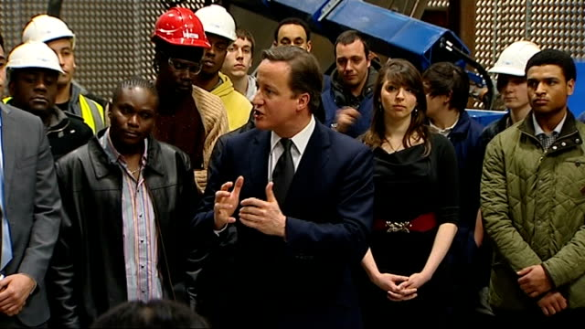 Prime Minister meets apprentices and speech Cameron speech SOT encouraging small businesses to take on apprentices expanding the number of higher...