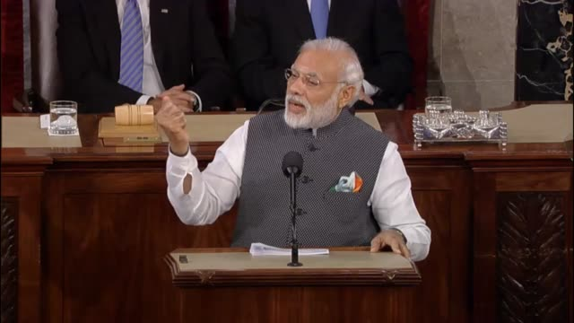 Prime Minister of India Narendra Modi begins his address to a joint meeting of the United States Congress by thanking speaker for opening the doors...