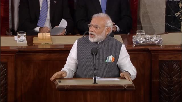Prime Minister of India Narendra Modi tells a joint meeting of the United States Congress that a stronger and prosperous India is in America's...