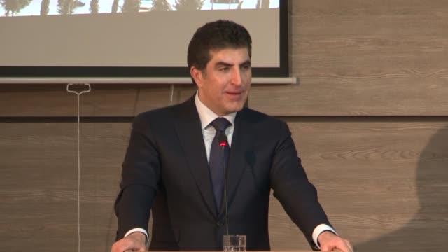 prime minister of iraqi kurdish regional government nechervan barzani delivers a speech on the existence of the pkk terrorist organization in sinjar... - sinjar stock videos & royalty-free footage