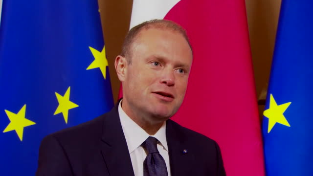 """stockvideo's en b-roll-footage met prime minister of malta joseph muscat saying he is """"determined to get to the bottom of"""" finding out who murdered prominent journalist daphne caruana... - media interview"""