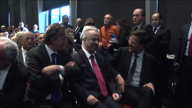 prime minister of netherlands mark rutte and palestinian prime minister rami hamdallah arrive to attend the 2nd dutchpalestinian cooperation forum... - the hague stock videos and b-roll footage