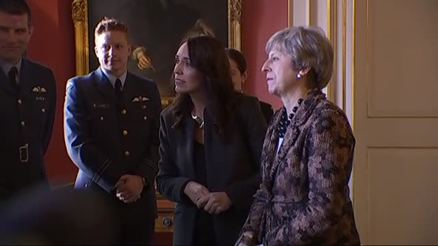 prime minister of new zealand jacinda ardern and prime minister of the united kingdom theresa may meet with defence personnel at 10 downing street... - governmental occupation stock videos & royalty-free footage