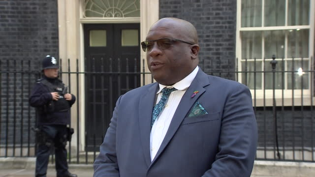 prime minister of saint kitts and nevis timothy harris saying it's regrettable that the windrush controversy was allowed to reach this far outside 10... - hmt empire windrush stock videos & royalty-free footage